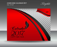Desk calendar 2017 year Size 6x8 inch horizontal, Red Cover Stock Photos