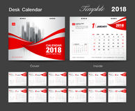 Desk Calendar for 2018 Year, Vector Design Print Template, Red c. Set Desk Calendar 2018 template design, red cover, Set of 12 Months, Week start Sunday Stock Photography