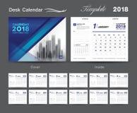 Desk Calendar for 2018 Year, Vector Design Print Template. Set Desk Calendar 2018 template design, blue cover, Set of 12 Months, Week start Sunday Royalty Free Stock Image