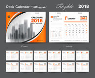 Desk Calendar for 2018 Year, Vector Design Print Template Royalty Free Stock Images