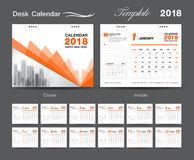Desk Calendar for 2018 Year, Vector Design Print Template Royalty Free Stock Image