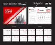 Desk Calendar for 2018 Year, Vector Design Print Template. Set Desk Calendar 2018 template design, red cover, Set of 12 Months, Week start Sunday Stock Photos