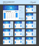 Desk Calendar for 2017 Year Vector Design Template. Set of 12 Months Royalty Free Stock Photos