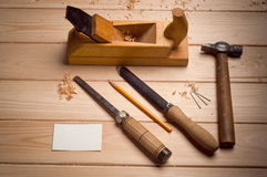 Desk of a carpenter with some tools Royalty Free Stock Photography