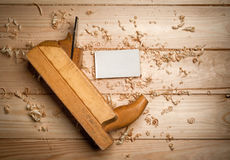 Desk of a carpenter with some tools Stock Photo