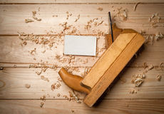 Desk of a carpenter with some tools Stock Images