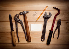 Desk of a carpenter with some tools Royalty Free Stock Photo