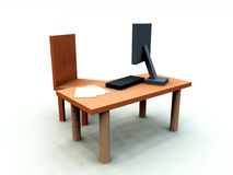 Desk With Chair 1. An image of a It office/work environment, it contains a desk with a chair and a computer with keyboard and paper Royalty Free Stock Images