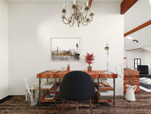 Desk and Chair with Chandelier in Modern Home Stock Images
