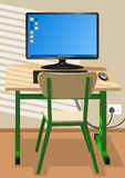 Desk, chair and a computer Stock Photography