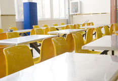 Desk and chair in a dining hall Stock Photo