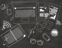 Desk on the chalk Royalty Free Stock Image