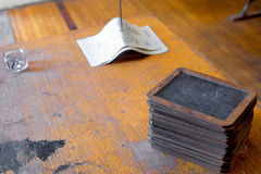 Antique school desk and chalk boards Royalty Free Stock Photography