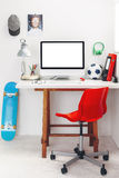 Desk in a child's bedroom. royalty free stock image