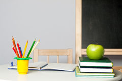 Desk in classroom Royalty Free Stock Photo