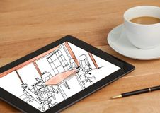 Desk with coffee and tablet. On tablet the draw of the new design for the office. (black and white w Royalty Free Stock Photo