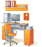 Desk, computer, chair- office vector illustration