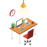 Desk with computer. Comfortable office chair red and clock. Workplace freelance concept. Vector color illustration isometric flat style for the design of web Stock Photos