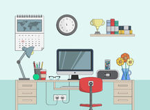 Desk with computer in office room Stock Image