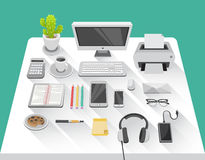 Desk with computer in office room Stock Photo