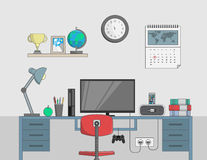 Desk with computer in office room. Digitally generated Desk with computer in office room stock illustration
