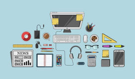 Desk with computer and other accessories vector Stock Photos