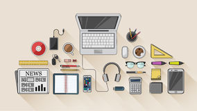 Desk with computer and other accessories vector Royalty Free Stock Images