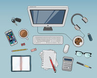 Desk with computer and other accessories vector Stock Photography