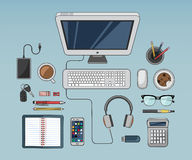 Desk with computer and other accessories vector Royalty Free Stock Photography