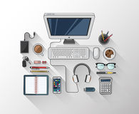 Desk with computer and other accessories vector Stock Image