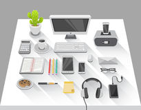 Desk with computer and various media devices vector Royalty Free Stock Images