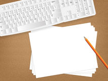 Desk concept with a blank paper Stock Photo