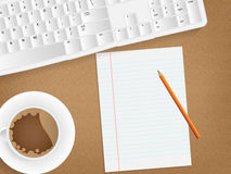 Desk concept with a blank paper Royalty Free Stock Photography