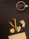 Desk, Cup, Pencil, Paper, Copy Space Stock Photography