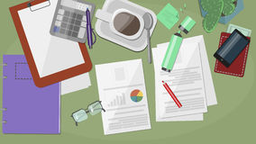 Desk with the documents , resume,  summary sheets , stationery , Stock Image