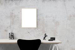 Desk and empty frame Royalty Free Stock Images