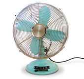 Desk Fan Turquoise. Blue Green with Cord Stock Photos