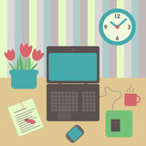 Desk flat design Royalty Free Stock Photos