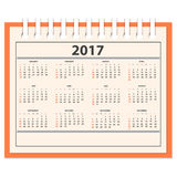 Desk full calendar 2017 Stock Photos