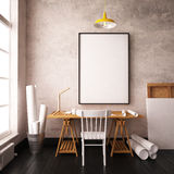 Desk in hipster style loft. mockup interior with posters. 3d Royalty Free Stock Image