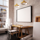 Desk in hipster style loft. mockup interior with posters. 3d. Desk in hipster style loft. mockup interior with posters Stock Photo