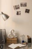 Desk in home office area. Photo of simple desk in home office area Stock Photos