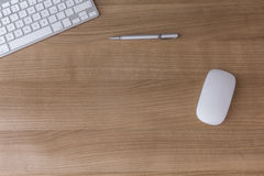 Desk with keyboard and Mouse stock photo