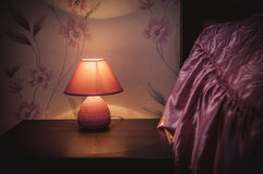 Desk Lamp with Bed Stock Photography