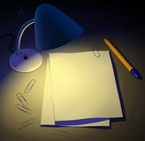 Desk lamp gives light to paper pages. Design background. 3d Stock Photography