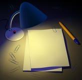 Desk lamp gives light to paper pages. Design background. 3d royalty free illustration