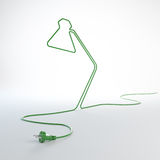 Desk lamp shaped electric cord Royalty Free Stock Photos
