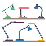 Desk lamps collection. Set of modern desk lamps Royalty Free Stock Photo