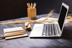Desk with laptop Royalty Free Stock Photo