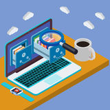 Desk with laptop 3d. Database storage server. Businessman put in document drawer folder in cloud-shaped cabinet. Flat 3d isometric laptop Royalty Free Stock Photography